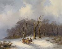 雪天马车风景装饰画