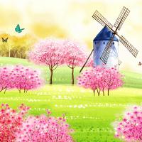 卡通向日葵风车客厅装饰画1