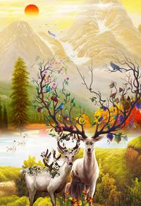 彩色风景小鹿装饰画