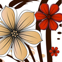 红黄精美大气时尚卡通鲜花无框画