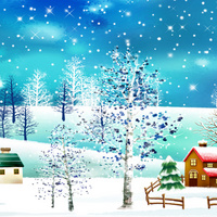 卡通雪景客厅装饰画1