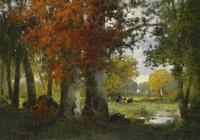 树林间休息的人风景装饰画