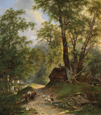 树下的牧人风景装饰画