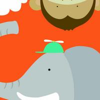 卡通大象与猴装饰画