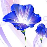 卡通蓝色精美鲜花无框画