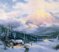 雪山下的小屋无框画