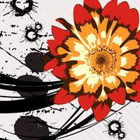 精美卡通抽象红黄鲜花无框画