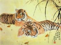 两只老虎国画