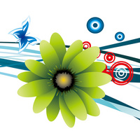 精美时尚绿色卡通花朵装饰画
