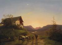夕阳下的马风景装饰画