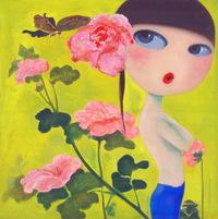 卡通手绘女性人物油画装饰画4