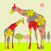 卡通长颈鹿母子装饰画