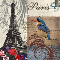 蓝色小鸟邮票无框画