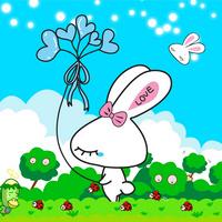 蓝色卡通兔子客厅装饰画1