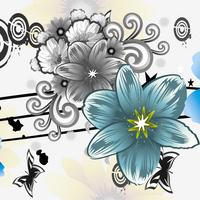 大气时尚青色卡通花朵无框画