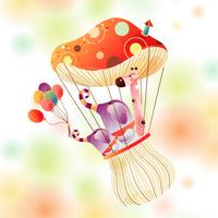 精美可爱蘑菇热气球装饰画