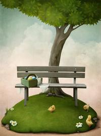 创意树下长凳装饰画