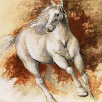 油彩手绘骏马装饰画