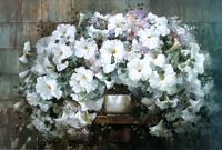 复古黄色花蕊白花装饰画
