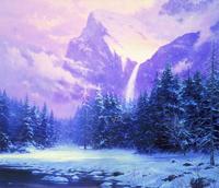 手绘雪山树林装饰画