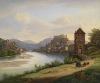湖边马车风景装饰画