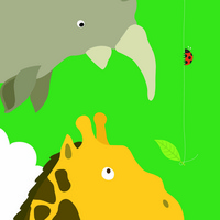 卡通犀牛与长颈鹿装饰画