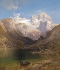 山下湖泊风景装饰画
