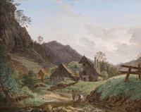 山下小木屋风景装饰画