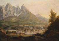 山下美丽小城风景装饰画