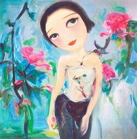 卡通手绘女性人物油画装饰画2
