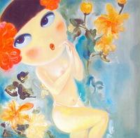 卡通手绘女性人物油画装饰画8