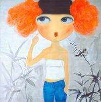 卡通手绘女性人物油画装饰画5