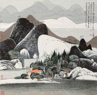 国风林中草屋装饰画