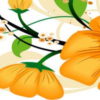 简约卡通精美黄色花朵无框画