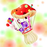 蘑菇热气球装饰画