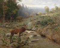 林间小鹿风景装饰画