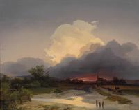 夕阳下的马车风景装饰画