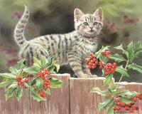 木板上的可爱小猫装饰画