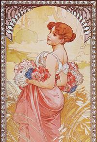 花中的红发女子装饰画