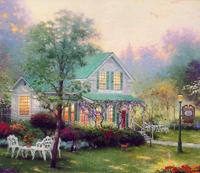 手绘花园咖啡厅装饰画