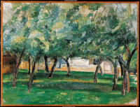 手绘房屋庭院小树林装饰画