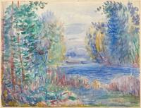 手绘抽象河流树林装饰画
