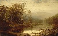 复古树林河流油画装饰画