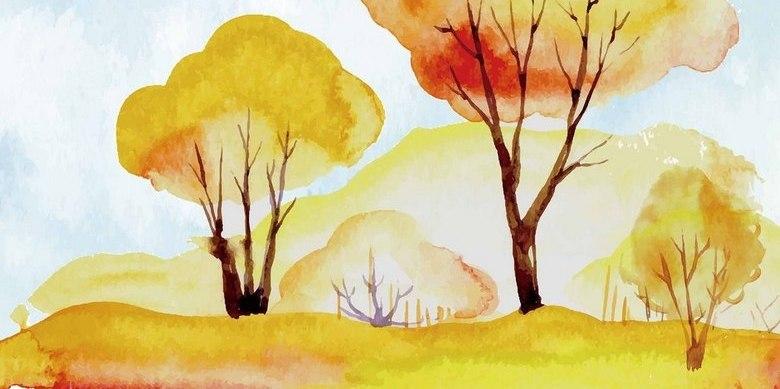 秋天树木水彩素材