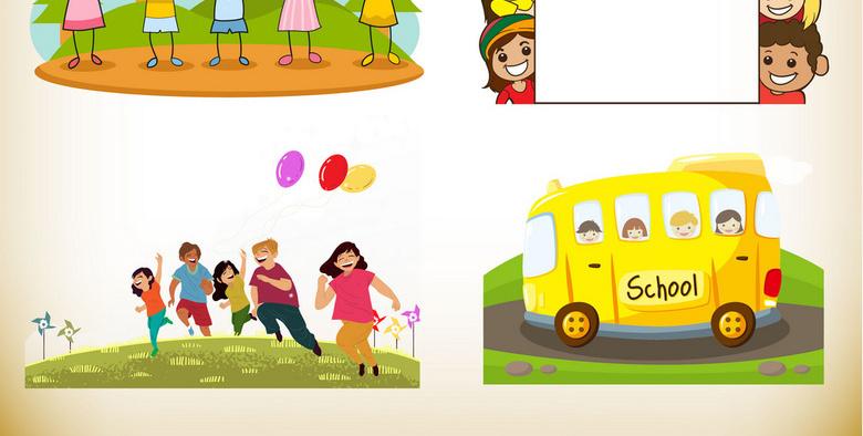 卡通手绘开学季素材