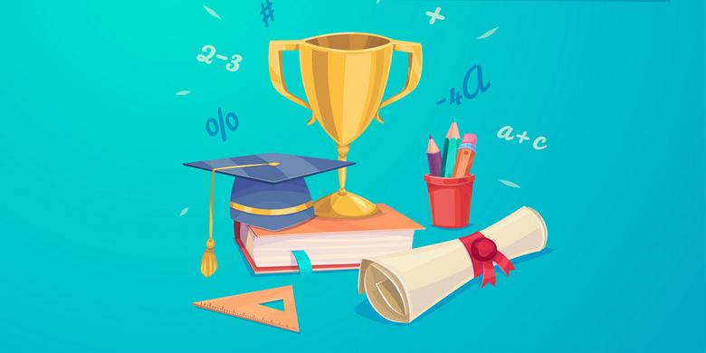 开学季黑板书本奖杯背景 开学季素材 开学季元素 开学季卡通背景