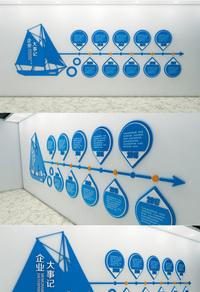 蓝色简洁企业文化墙