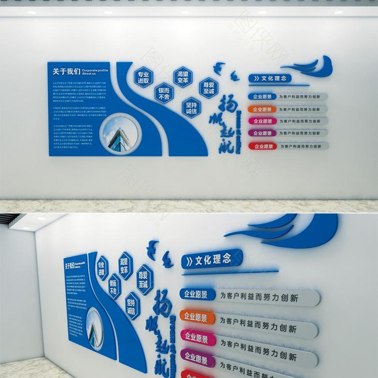 蓝色创意企业文化墙模板
