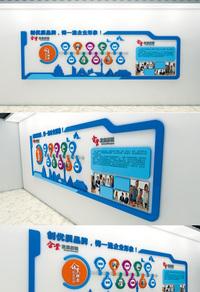 蓝色企业走廊文化墙